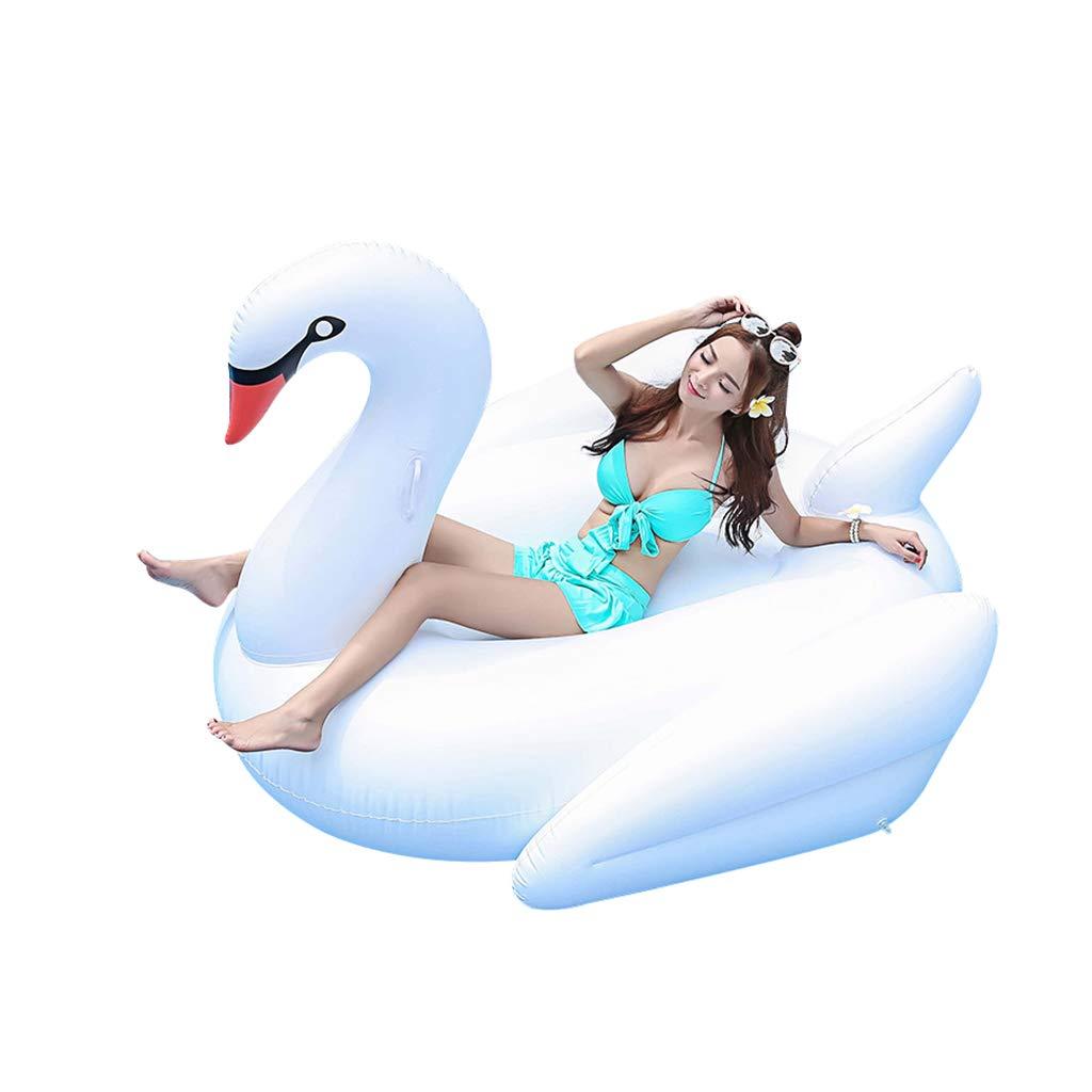 Weiß 190190120cm JINGJING Aufblasbar Weißer Schwan schwimmende Reihe PVC Schwimmendes Bett Schwimmen Bett Wasserspielzeug,Weiß,190  190  120cm