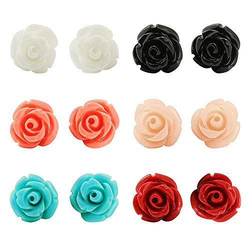 JewelrieShop Handcrafted Assorted Colors Rose Flower Earring Studs for Women Girls, Stainless Steel Hypoallergenic Earring Pins