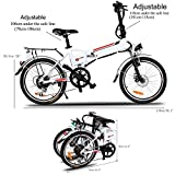 Foldable Electric A-bike Urban City Bicycle 7 Speed 250W with Removable 36V/8AH Lithium-Ion Battery and Battery Charger, White [US STOCK]