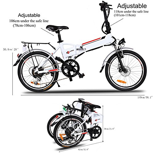 36v Lithium Ion Battery (Foldable Electric A-bike Urban City Bicycle 7 Speed 250W with Removable 36V/8AH Lithium-Ion Battery and Battery Charger, White [US STOCK])