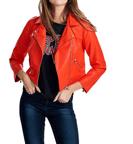 Biker Faux Summer Only 15144751 Donna Crop Rosso Giacchetto Leather gqw1YUZ