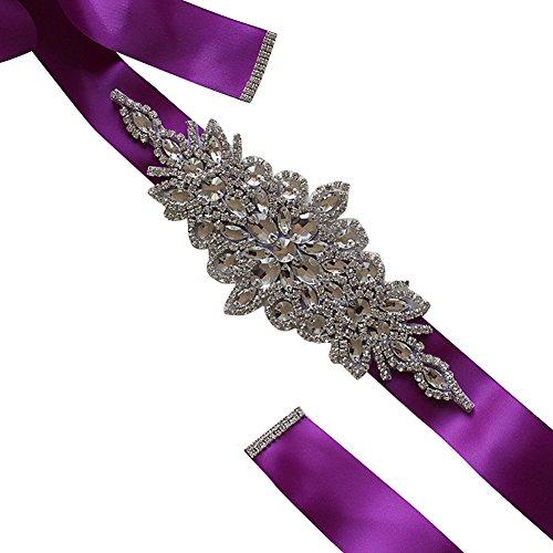 Purple Satin Rhinestone Belt for Evening Prom Party Dresses Beaded Trim Women Crystal Sash (Beaded Belt Silk)