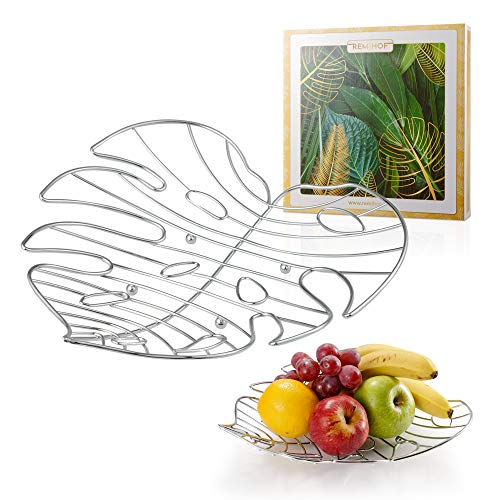 REMIHOF Wire Fruit Bowl Basket for Kitchen - Modern Fruit Bowls for the Counters - FDA Approved -Chrome Plated (Octopus Fruit Bowl)