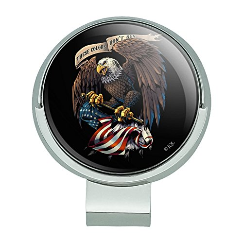 Graphics and More These Colors Don't Run Patriotic Eagle USA American Flag Golf Hat Clip With Magnetic Ball Marker -