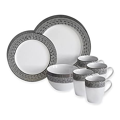 Amazon.com | Baum Patina16-Piece Dinnerware Set in Blue/Ivory ...