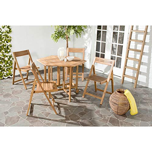 (Safavieh Outdoor Living Collection Kerman 5-Piece Dining Set, Teak Brown)