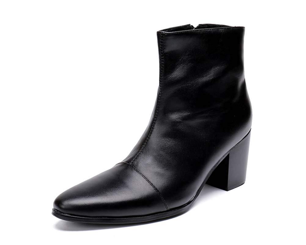 GLSHI Männer Leder Spitz Stiefeletten Herbst Winter High-Top-Schuhe Low Top Britische Stiefel Martin Stiefel Business Kleid Stiefel