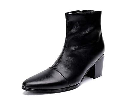 GLSHI Hombres Cuero Puntiagudo Botines Otoño Invierno Cima Mas Alta Zapatos Low Top Británico Botas Martín
