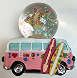 I Love Hawaii Snow Globe Hawaiian Turtle w/Plumeria Flowers & Ocean Beach Life Tan Design 45 MM