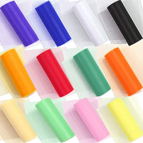 (Habbi 12 Colors Rainbow Tulle Netting Rolls Tulle Rolls Tulle Fabric Spool Tulle Assorted 6