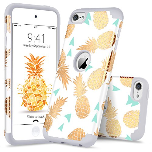 (GUAGUA iPod 5 Case iPod Touch 6 Case Pineapple Girls Women Slim Hybrid 2 in 1 Hard PC Soft Silicone Cover Anti-Scratch Shockproof Protective Phone Case for iPod Touch 5/6th Gen Flower Gold/White)