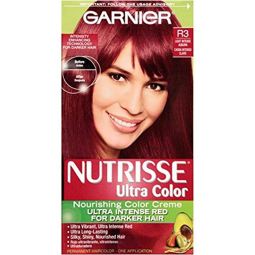 Garnier Nutrisse Ultra Color Nourishing Color Creme, R3 Light Intense Auburn, (Packaging May - Garnier Auburn Color Hair