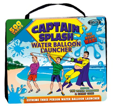 Water Balloon Launcher 500 Yards by Captain Splash, 3 Person Slingshot Cannon Catapult, 150 FREE Water Balloons & Carry Case Included (Blue, Extra Strong Latex Sling) 2019 Edition. Outdoor Games by Vivorr (Image #2)