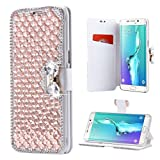Samsung Galaxy J7 Wallet Case,Inspirationc and Made Luxury 3D Bling Crystal Rhinestone Leather Purse Flip Card Pouch Stand Cover Case for Samsung Galaxy J7 2016--Rose Gold