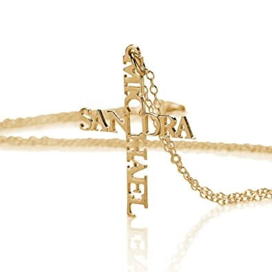 Very Amazon.com: Cross Name Necklace - Personalized with Names - Gold  UB42