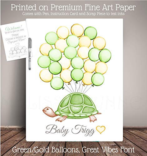 Green and Yellow Turtle Balloon Art Print, Guest Registry Art, Nursery Art Print, Balloon Sign in Guest Book Poster TTL-GN.YW ()