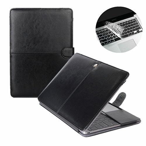 Se7enline Macbook 12 inch Retina Case Black PU Leather Book Carry Case with Magnetic Snap Closure for Macbook 12 inch Retina Model A1534, with Transparent Keyboard (Leather Transit Case)