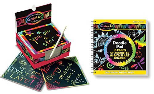 Melissa & Doug Scratch Art Rainbow Mini Notes (125 ct) With Wooden Stylus With Scratch Art Doodle Pad With 16 Scratch-Art Boards and Wooden Stylus (Pad & Doug Doodle Melissa)