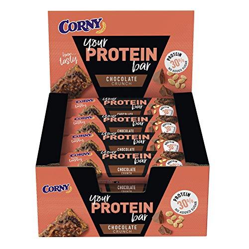 Corny Your Protein Chocolate Crunch, Eiweiß-Riegel mit 30% Protein, ohne Zuckerzusatz, 12er Pack (12 x 45g)