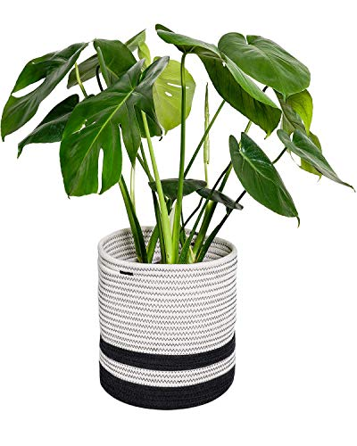 TIMEYARD Woven Cotton Rope Plant Basket for 7in to 9in Flower Pot Floor Indoor Planters, 10
