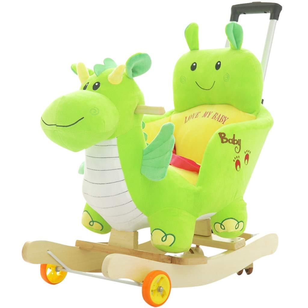 Rocking horse Children's Rocking Chair Dinosaur Toy Rocking Horse Car Gift with Music Telescopic Push Rod, Universal Wheel Base
