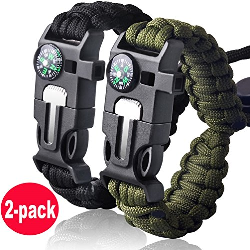 Survival Bracelet Paracord Military Bracelet Buckle Tool Adjustable Rope Accessories Kit, Fire Starter, Knife, Compass, Whistle,For Fishing Gear Supplies, Hiking Travel Camp( 2pcs), (black,green) ()