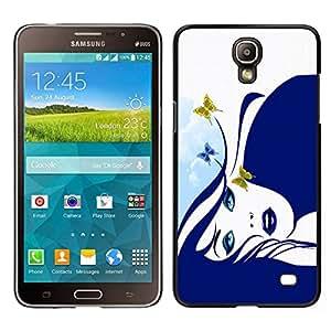 Caucho caso de Shell duro de la cubierta de accesorios de protección BY RAYDREAMMM - Samsung Galaxy Mega 2 - Muchacha de la mariposa azul