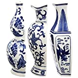 Blue White Ceramic Wall Vase Pocket 12'' Set Of 3