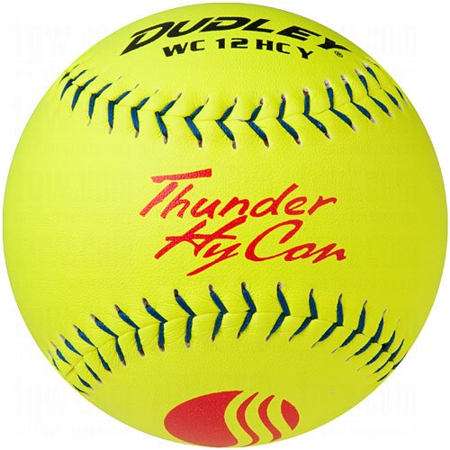Dudley Composite Softballs - Dudley USSSA Thunder Hycon Slow Pitch Softball - Composite Cover - 12 pack