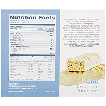 WonderSlim Low-Carb 15g Protein Diet Bar – Fluffy Vanilla Crisp – High Fiber Weight Loss Snack Bar – Gluten Free 6 Boxes Value Pack Save 15
