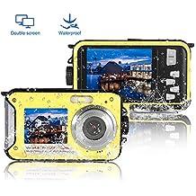Underwater Camera Full Hd 1080P Waterproof Digital Camera 24.0MP Underwater Digital Camera Self Point and Shoot Dual Screen Waterproof Camera (801A)