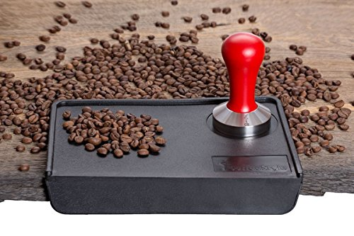 Coffee Tamper Standard for Espresso, Stainless Steel and Handle from solid wood (49mm, Red)