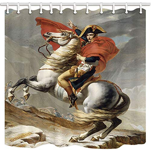 GoHeBe Portrait Shower Curtain Napoleon Famous Painting France King Giant Farmhouse Bathroom Resistant Polyester Fabric Waterproof Shower Curtain Set with Hooks 71X71in