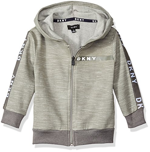 DKNY Big Boys' Long Sleeve Zip Front Heather Fleece Hoody, Heather Light, - Front Heather