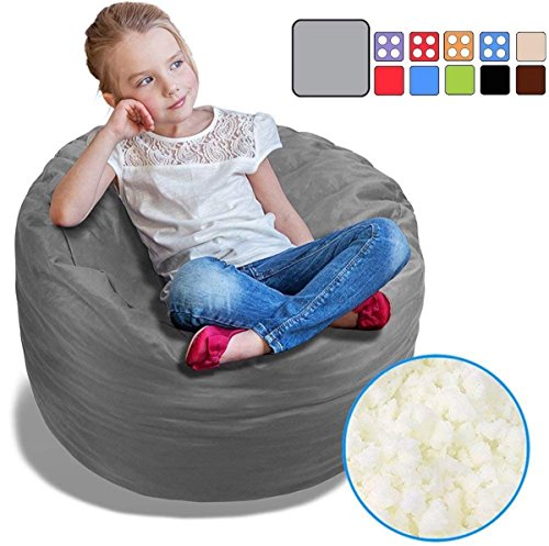 BeanBob Bean Bag Chair for Kids - Foam Filled Bean Bag - Bedroom Furniture & Sofa for Children, 2.5' Grey