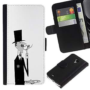 iBinBang / Flip Funda de Cuero Case Cover - Negro Blanco Café Bigote - Samsung Galaxy S4 Mini i9190 MINI VERSION!