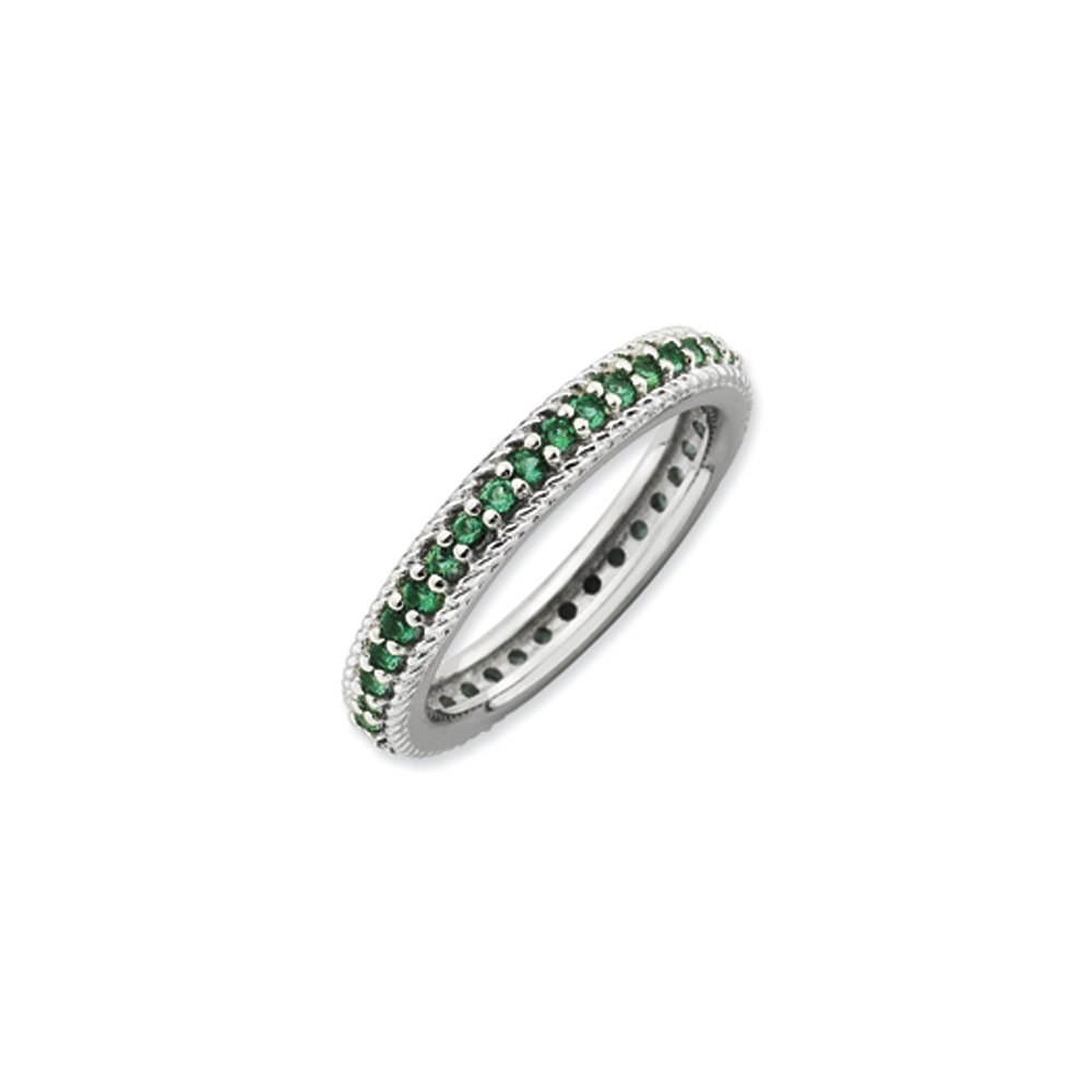 3.25mm Sterling Silver Stackable Created Emerald Eternity Ring Sz 9