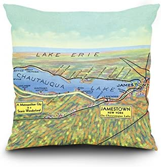 Chautauqua Lake, New York – Lake and Surrounding Towns – 1943 – Aerial Map 20×20 Spun Polyester Pillow, Square