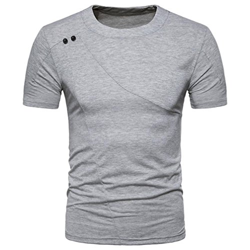 Bluestercool Fashion Hommes Casual Slim Manches Courtes Col Rond T-shirt Top Gris