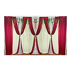 Red Swags Silk Fabric Sliver Sequin Curtains