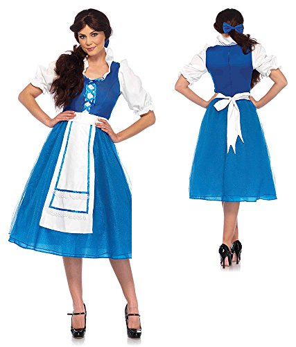 Leg Avenue Women's Belle of The Ball Village Costume, Blue/White Large ()