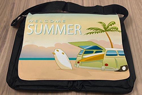 Borsa Tracolla Retro Spiaggia di estate Stampato