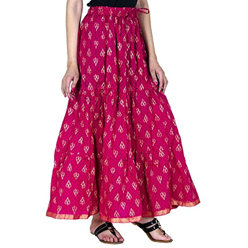 Free Printed Gold Export Indian Cotton Women Size Skirt Long for Tier Handicrfats BZOxvxn