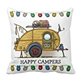 Cute Rv Vintage Teardrop Camper Travel Trailer Home Throw Pillow Case Pillow Case Covers Decorative Cover For Sofa 18X18 Inches