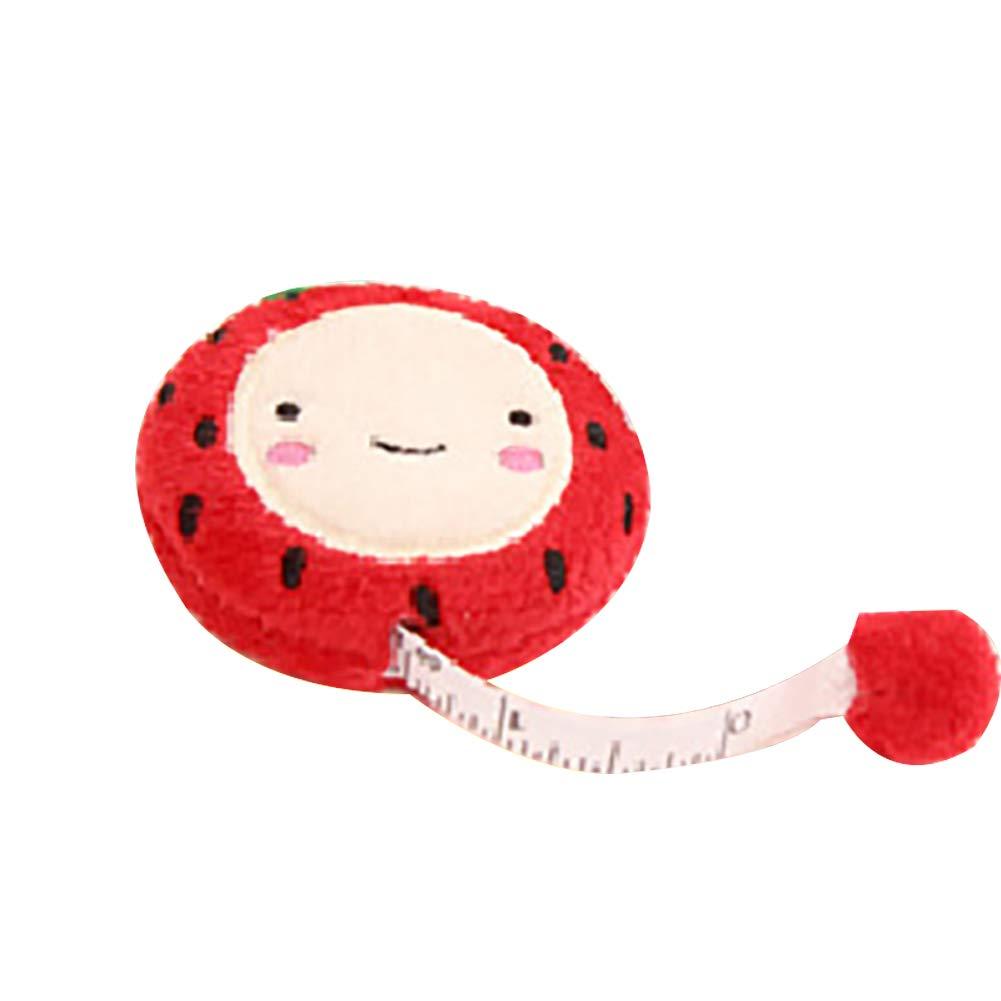 Maßband für Stoffe, 1,5 m, einziehbar, niedliches Plüschband, zum Nähen, Rot