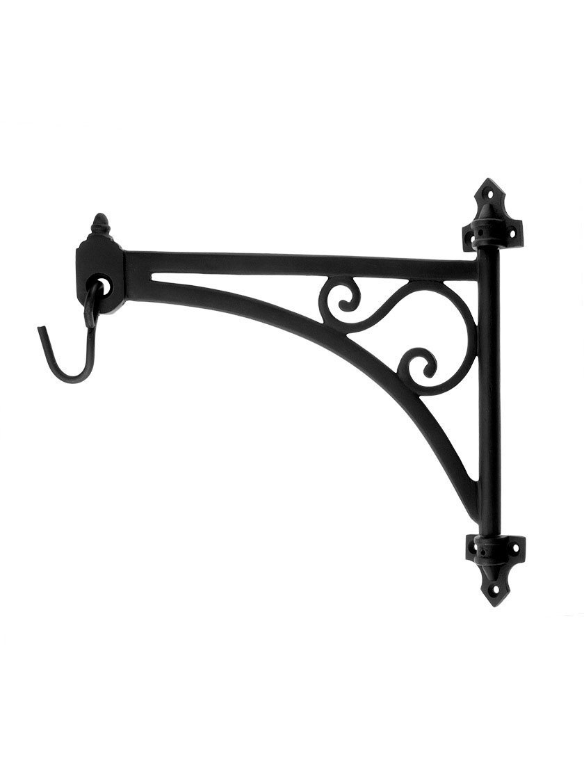 Cast Iron Swing-Arm Plant Hanger in Natural Black.