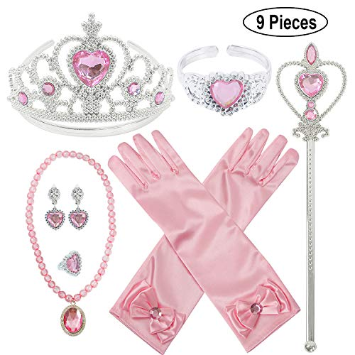 Pink Princess Dress Up Set - Princess Dress Up Party Accessories for Princess Costume Gloves Tiara Wand Necklace Earrings Bracelet and Ring (Pink Gift Set of 7, 9pcs