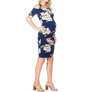 c0083a3e7208c Amazon.com: Dmitongz Womens Maternity Off Shoulder Summer Sundress,Ladies Floral  Print Cute Boho Short Sleeve Mini Dress: Clothing