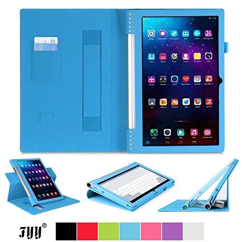 [Ecke Schutz] Lenovo Yoga Tablet 2 Pro(13.3 Zoll) Hülle Tasche, Fyy hochwertige umweltfreundliche KunstlederHülle (Tasche Schutzhülle Case Cover Etui) mit Standfunktion/Aufsteller mit Fach für Kreditkarten elastische Handschlaufe Stift-Haltung (mit automatischer Schlaf/ Weck-Funktion) Blau für Lenovo Yoga Tablet 2 Pro(13.3 Zoll)