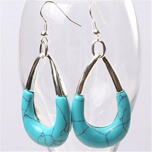 Tibetan Turquoise Jewelry (GEM-inside 29x45mm Bentdyed Dyed Blue Turquoise Beads Marcasite Tibetan Silve Dangle Earrings Jewelry)